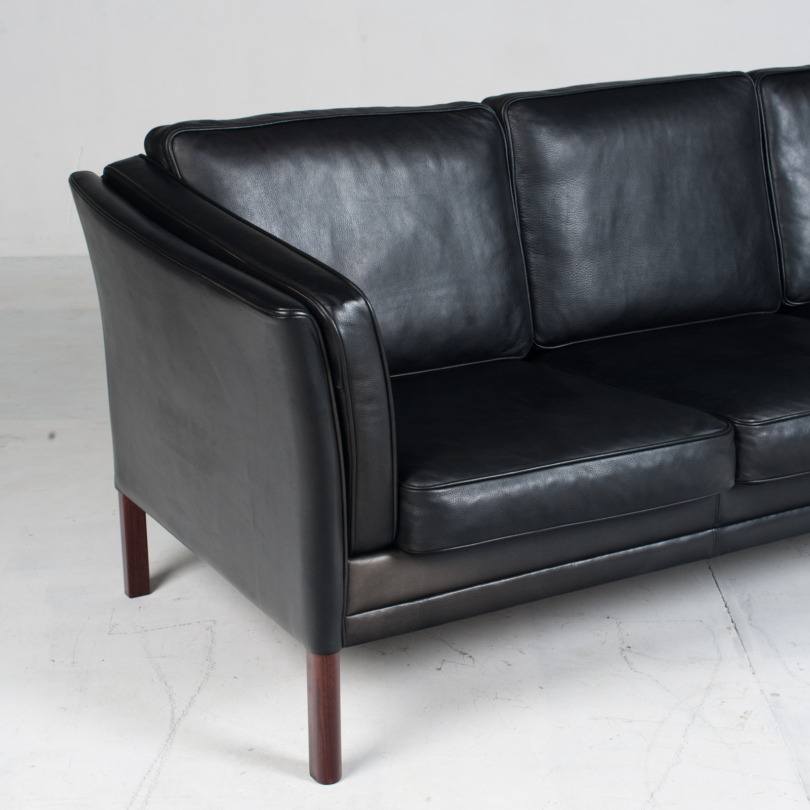 3 Seat Sofa In Black Aniline Leather 1960s Denmark 03