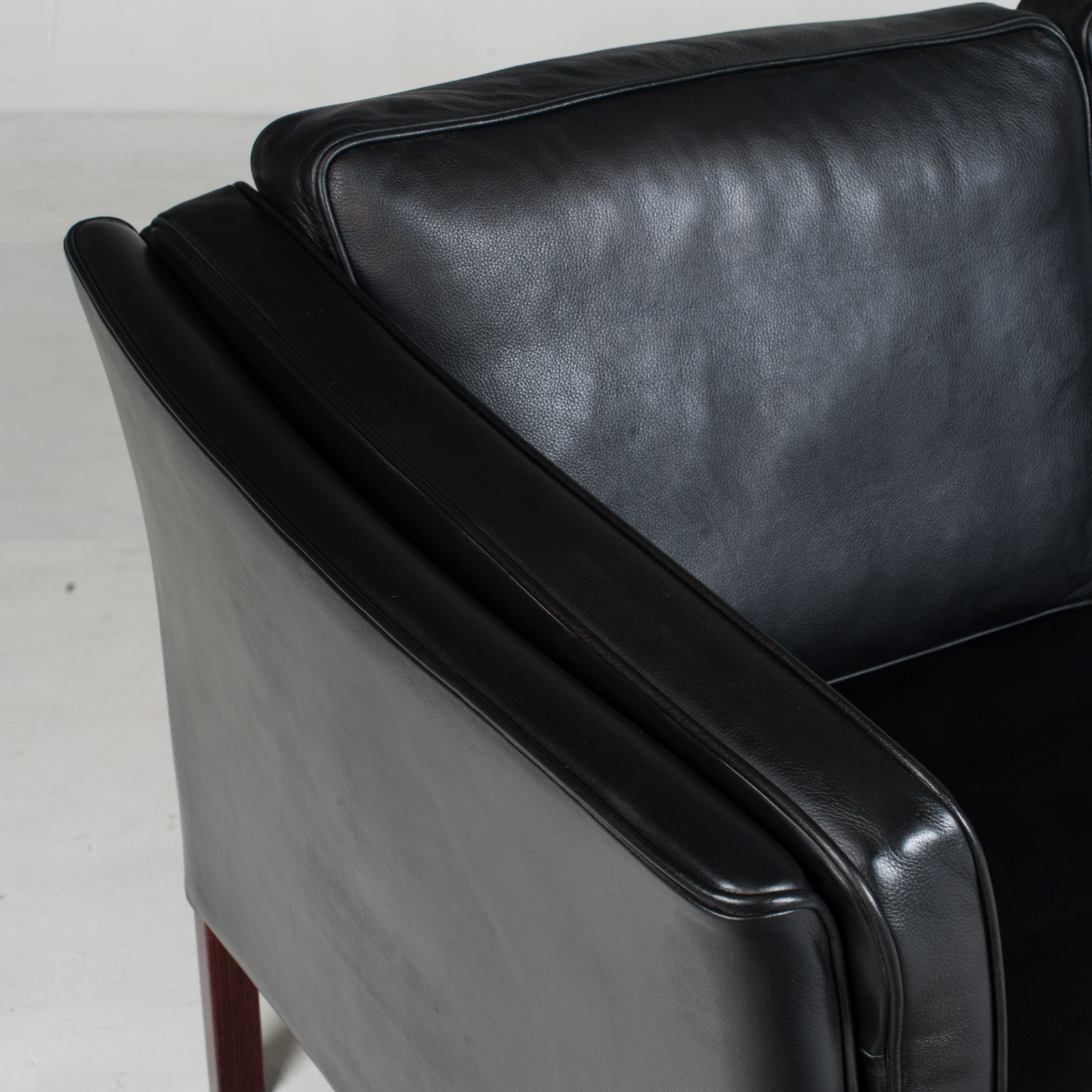 3 Seat Sofa In Black Aniline Leather 1960s Denmark 06