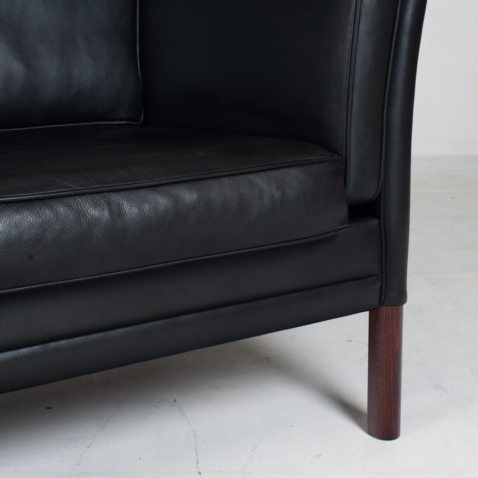 3 Seat Sofa In Black Aniline Leather 1960s Denmark 10