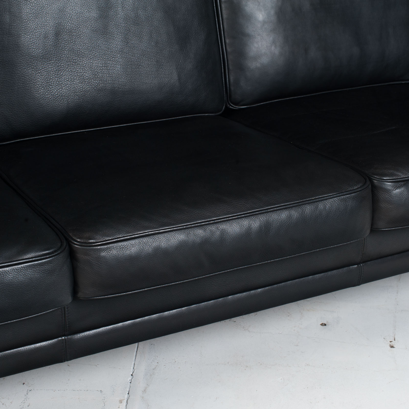 3 Seat Sofa In Black Aniline Leather 1960s Denmark 11