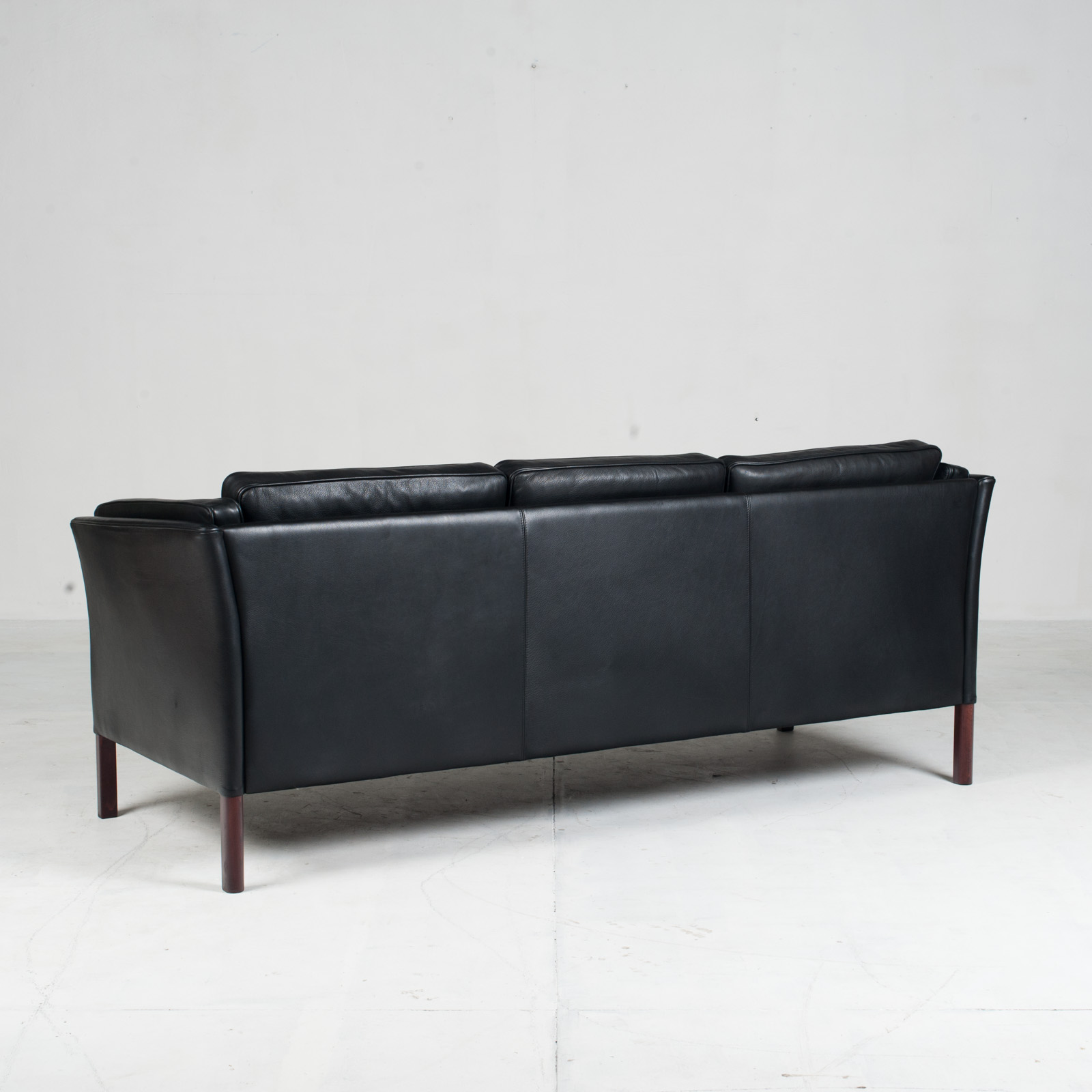 3 Seat Sofa In Black Aniline Leather 1960s Denmark 12