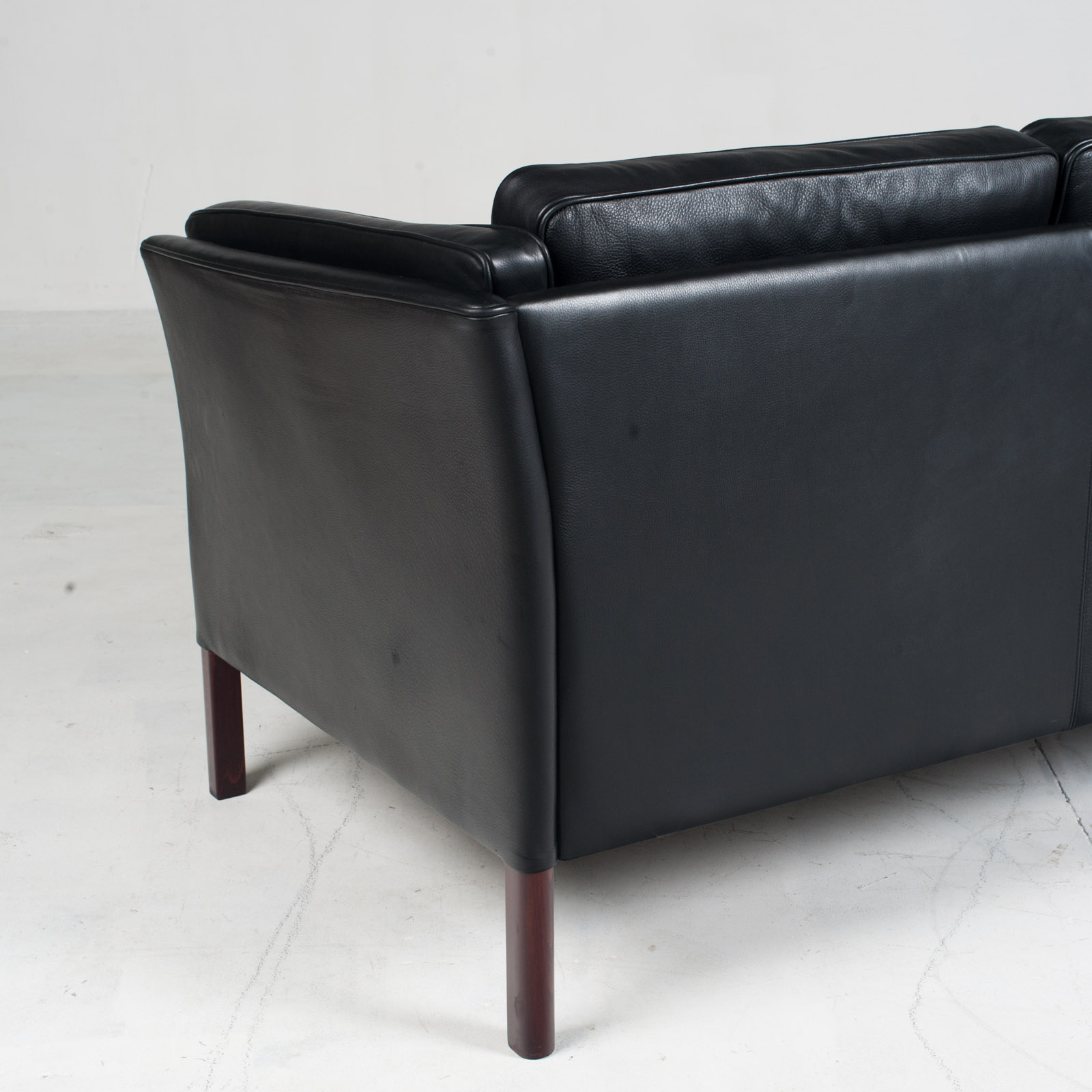 3 Seat Sofa In Black Aniline Leather 1960s Denmark 13