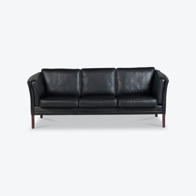 3 Seat Sofa In Black Aniline Leather 1960s Denmark Thumb.jpg