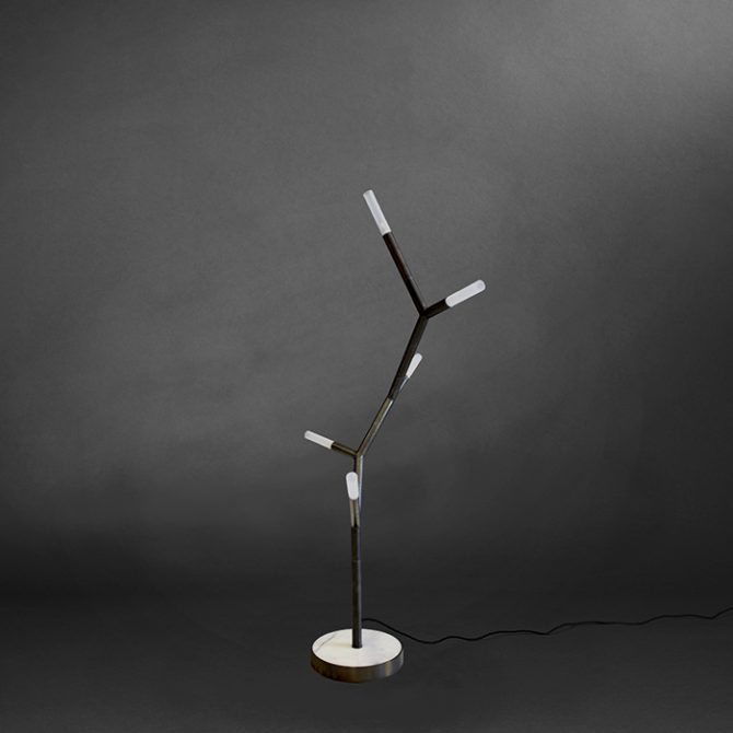 5 Arm Branch Chain Amino Acid Floor Lamp By Christopher Boots In Brushed Brass And Marble 2018 Australia Thumb.jpg