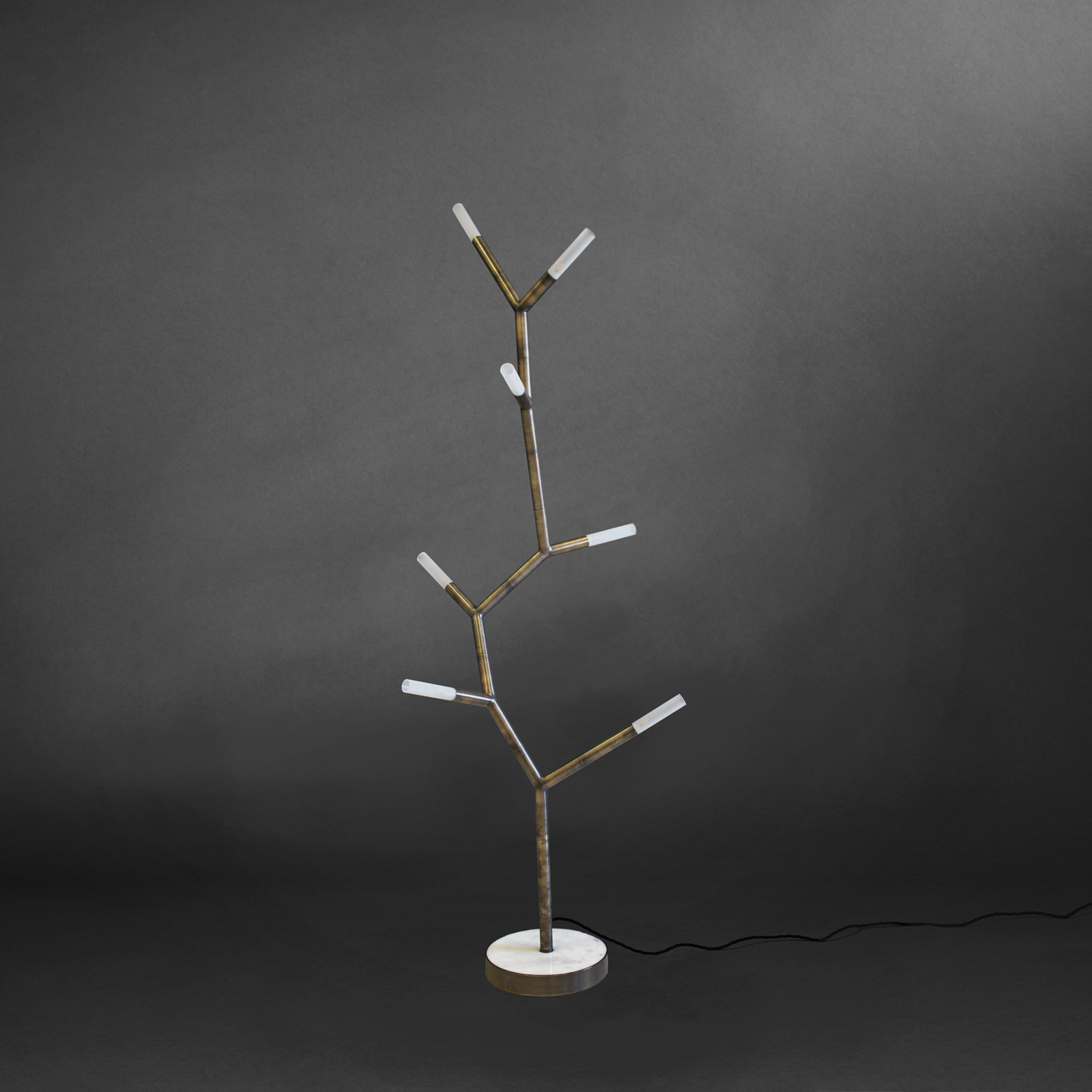 7 Arm Branch Chain Amino Acid Floor Lamp By Christopher Boots In Aged Brass And Marble 2018 Australia 01
