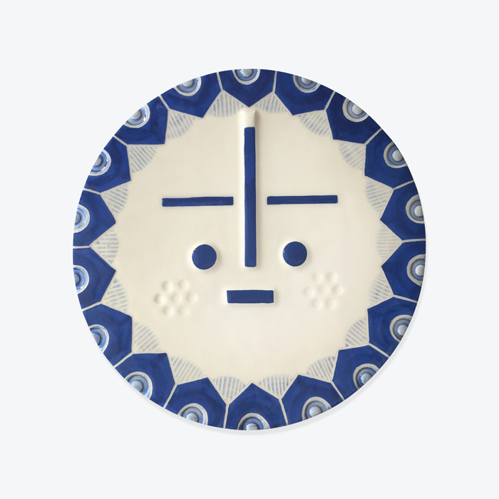 August Songsung Blue Ceramic Face Wall Hanging By Louise Kyriakou Thumb.jpg