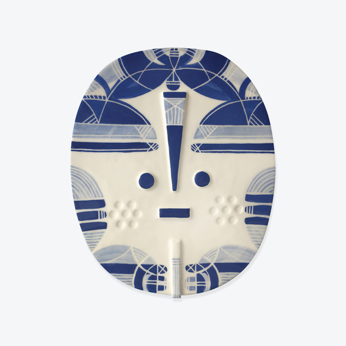 Elyn Songsung Blue Ceramic Face Wall Hanging By Louise Kyriakou Thumb.jpg