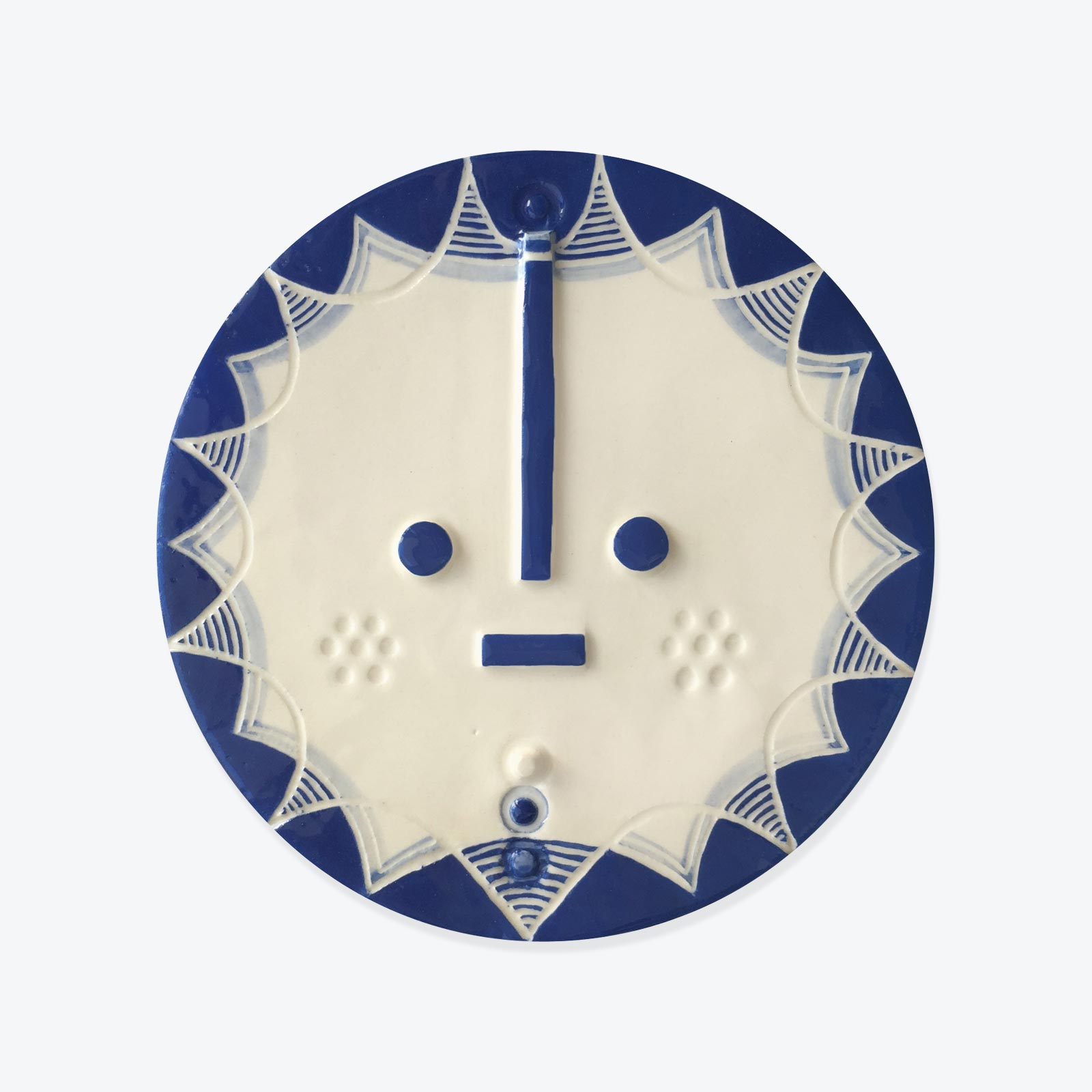 Hensley Songsung Blue Ceramic Face Wall Hanging By Louise Kyriakou 01