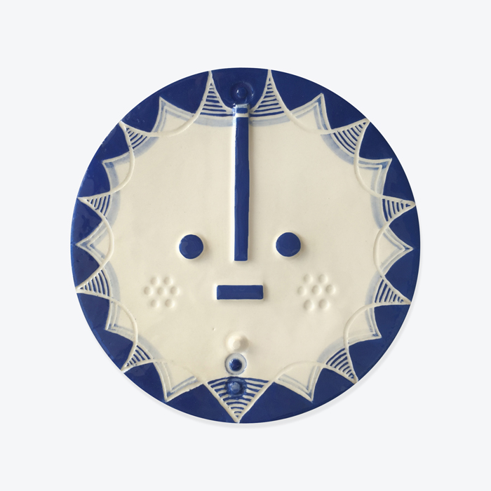Hensley Songsung Blue Ceramic Face Wall Hanging By Louise Kyriakou Thumb.jpg