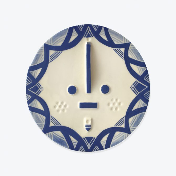 Kapner Songsung Blue Ceramic Face Wall Hanging By Louise Kyriakou Thumb.jpg