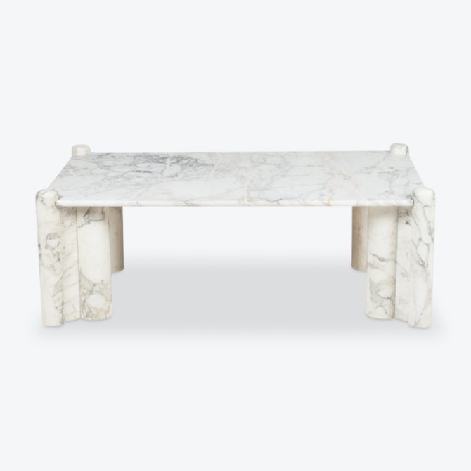 Marble Coffee Table In The Style Of Gae Aulenti In Carrara Marble 1960s Italy Thumb.jpg