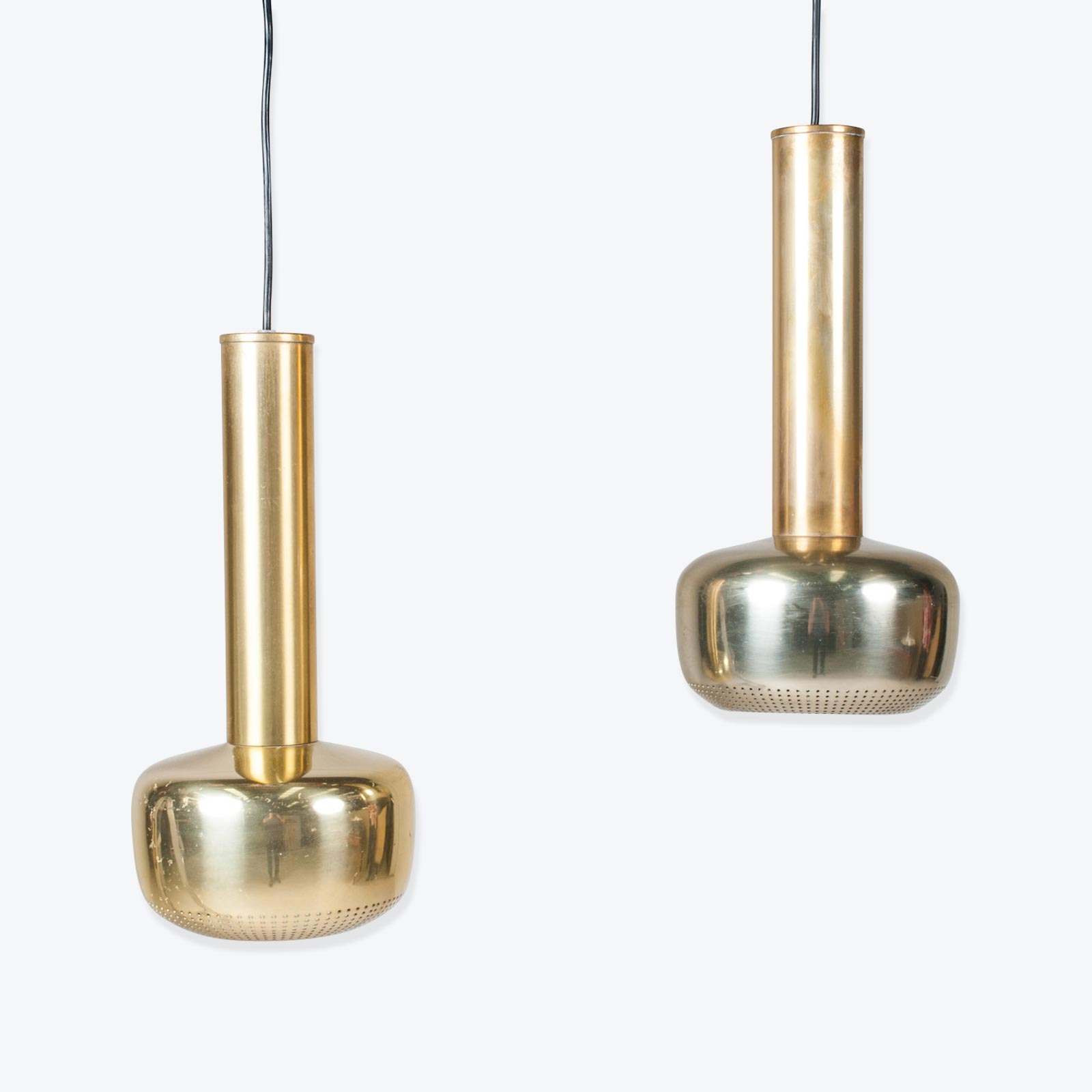 Pair Of Gold Pendants By Vilhelm Lauritzen For Louis Poulsen 1950s Denmark 01