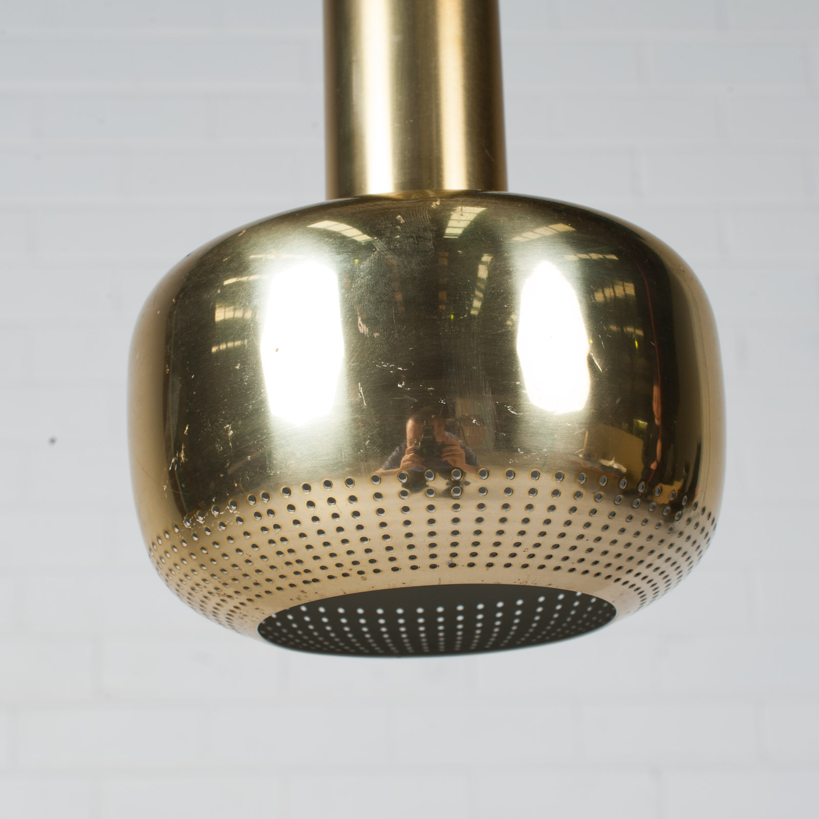 Pair Of Gold Pendants By Vilhelm Lauritzen For Louis Poulsen 1950s Denmark 08