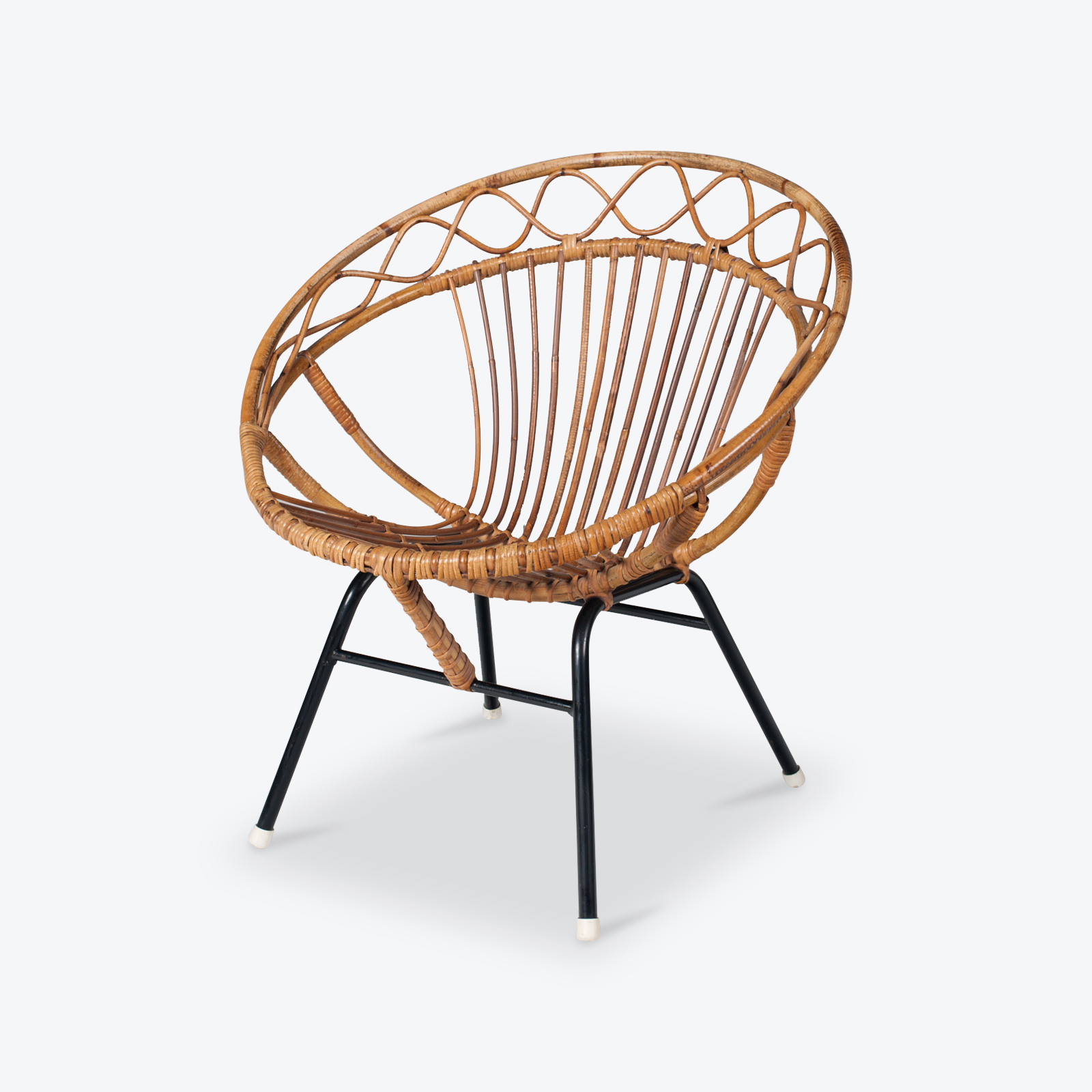 Rattan Lounge Chair By Rohe Noordwolde 1960s Netherlands 01