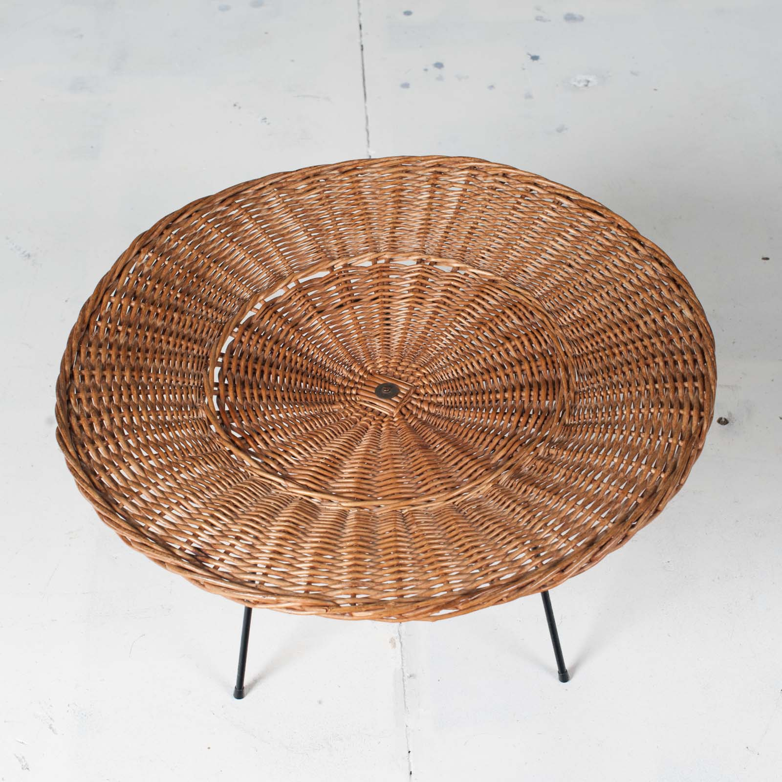 Rattan Side Table 1950s France 03