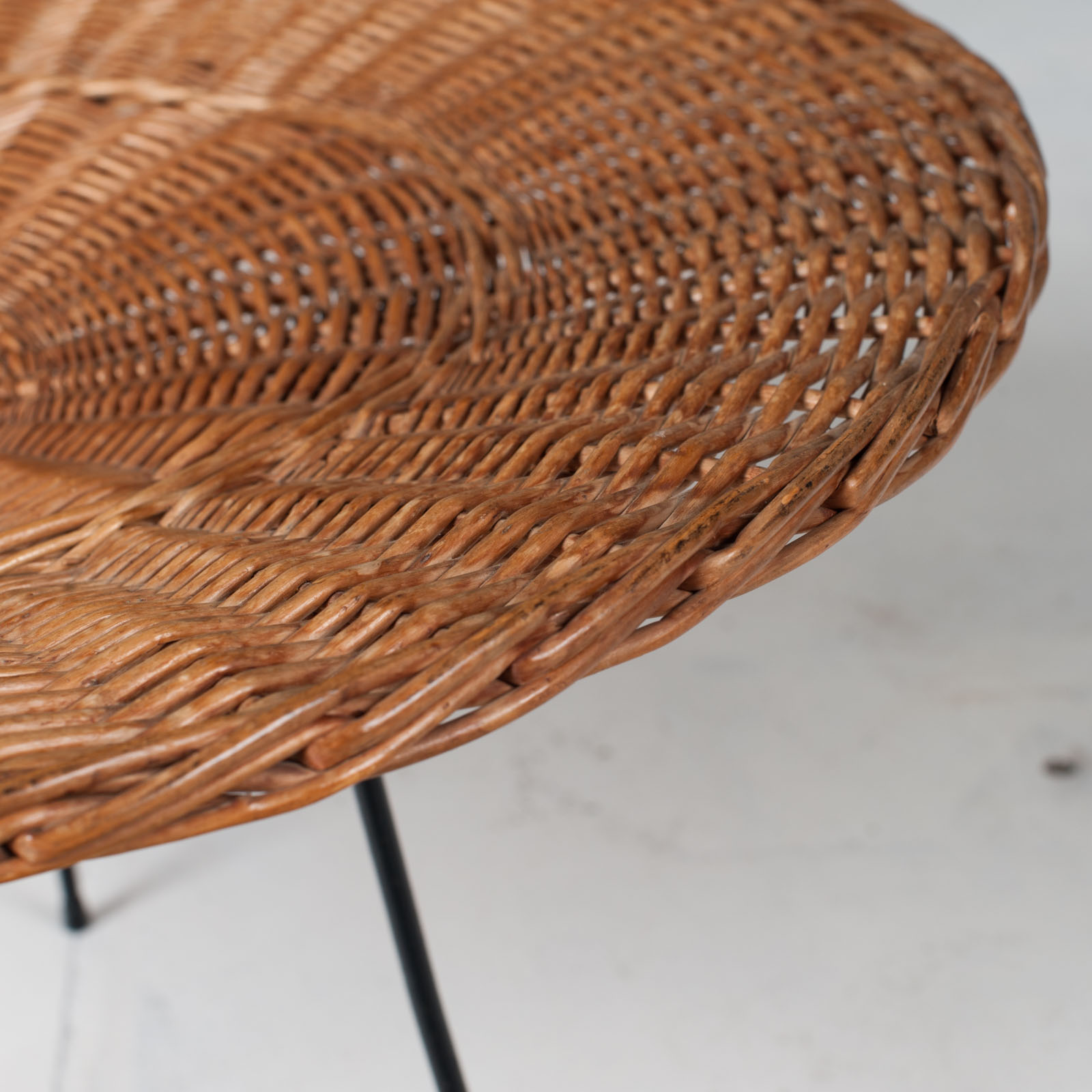 Rattan Side Table 1950s France 06