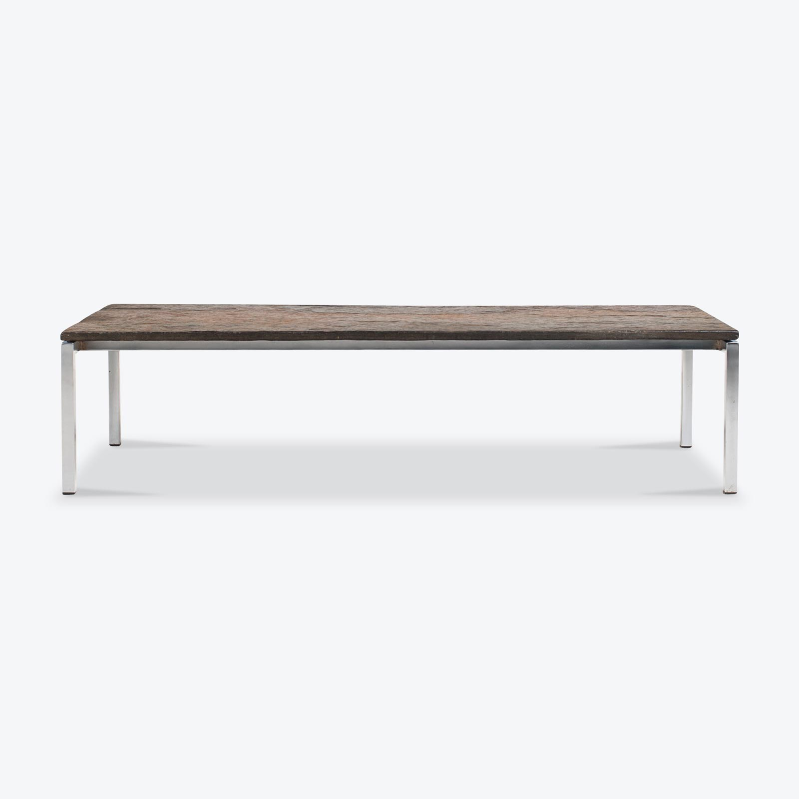 Rectangular Coffee Table With Slate And Chrome Base 1960s Netherlands 01