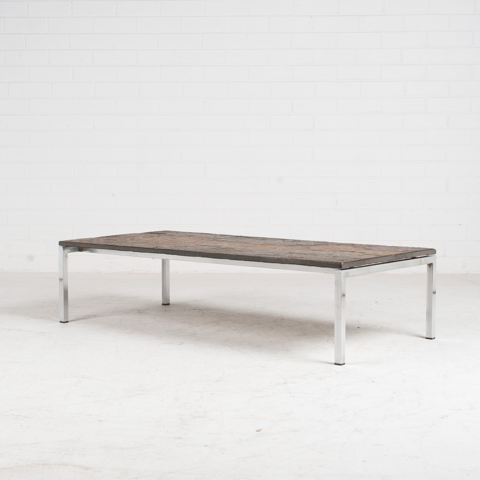 Rectangular Coffee Table With Slate And Chrome Base 1960s Netherlands 02
