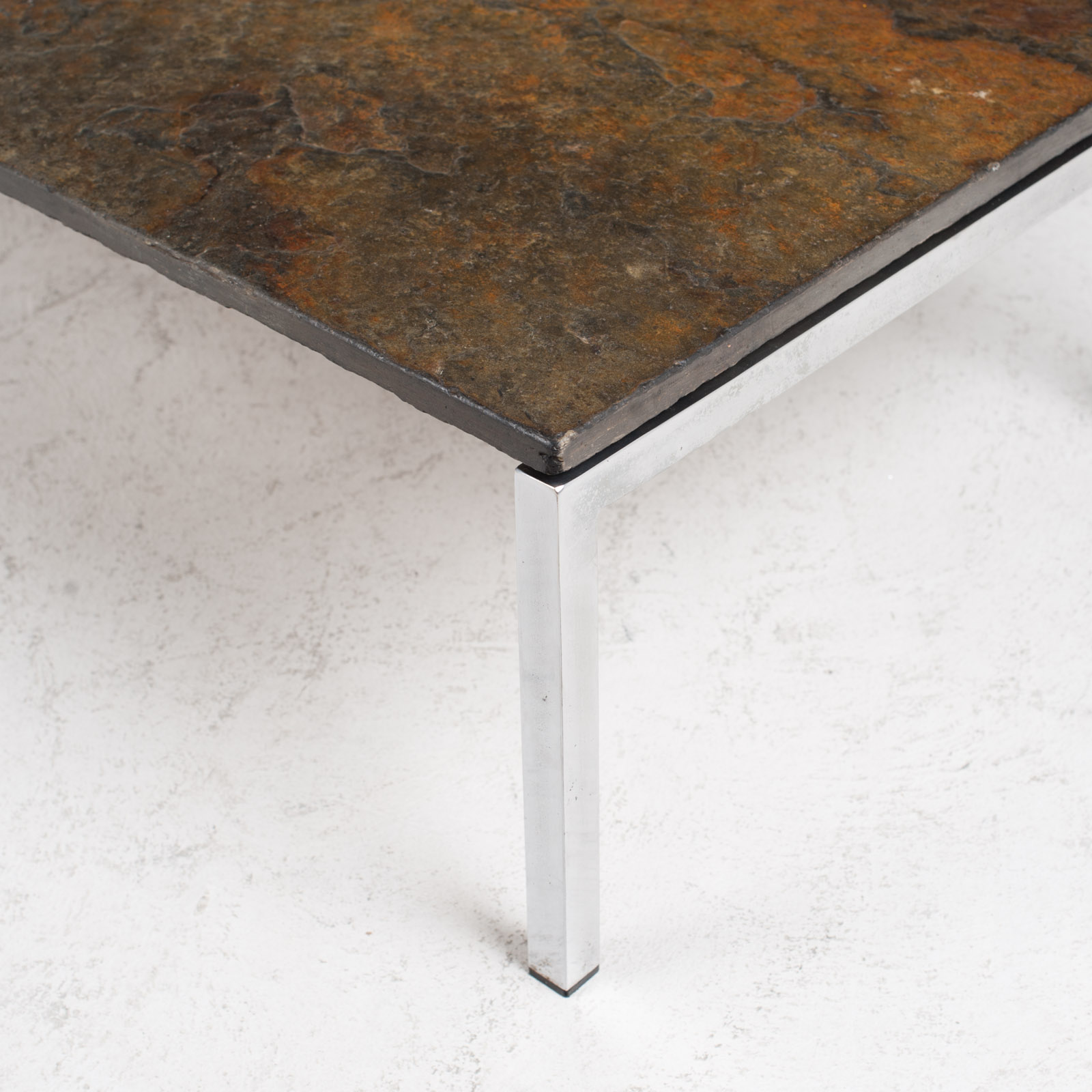 Rectangular Coffee Table With Slate And Chrome Base 1960s Netherlands 03