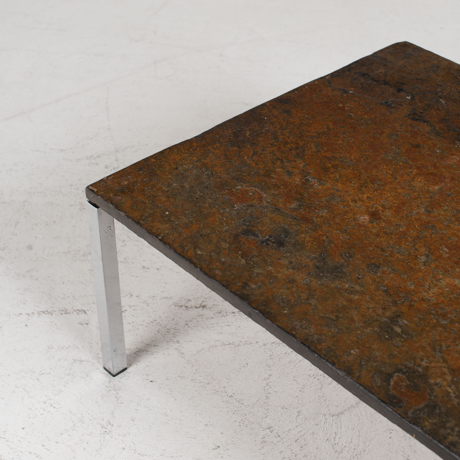 Rectangular Coffee Table With Slate And Chrome Base 1960s Netherlands 04