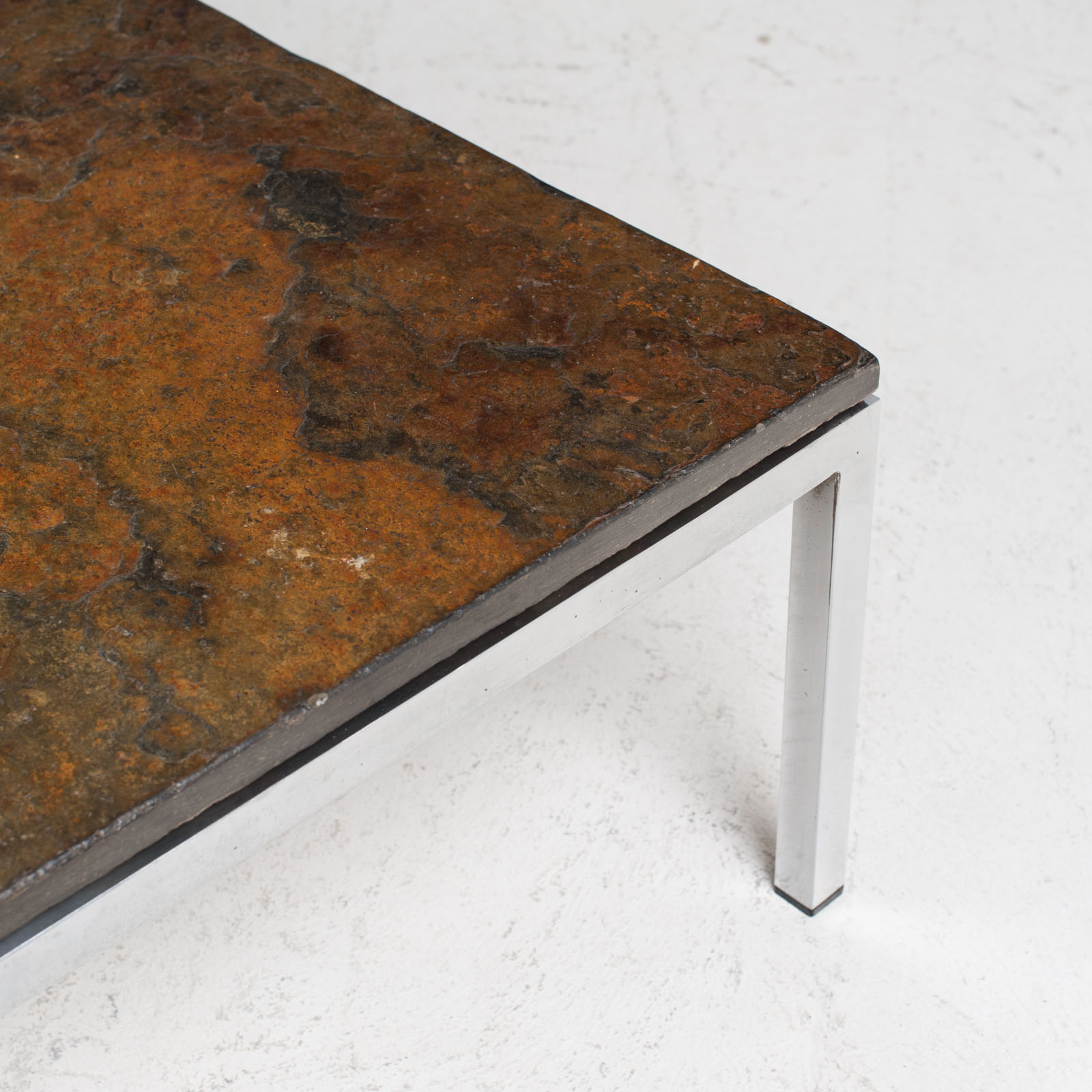 Rectangular Coffee Table With Slate And Chrome Base 1960s Netherlands 06