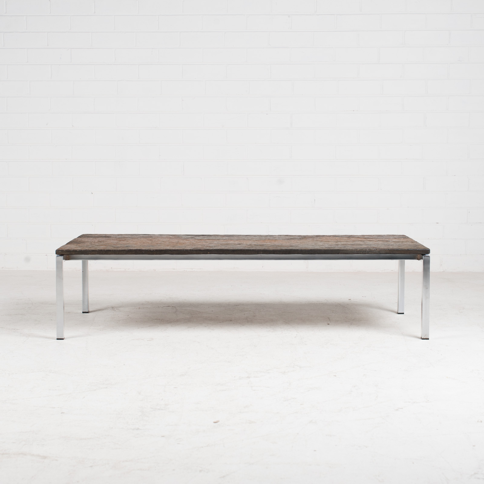 Rectangular Coffee Table With Slate And Chrome Base 1960s Netherlands 08