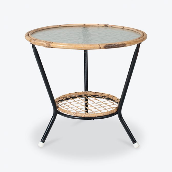 Round Rattan And Glass Side Table 1950s Netherlands Thumb.jpg