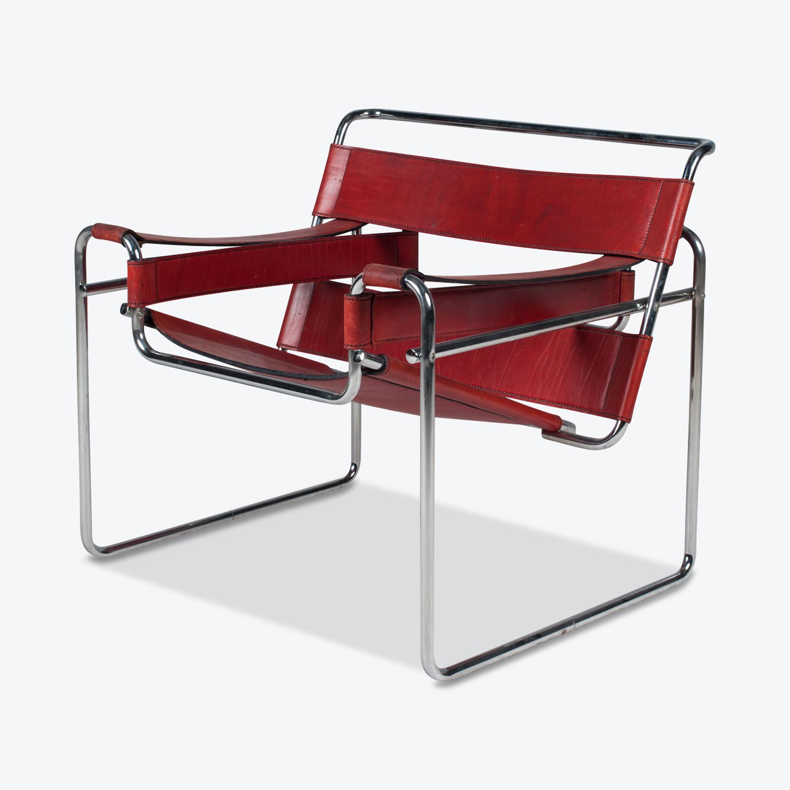 Wassily Armchair By Marcel Breuer In Red Leather 1980s Italy 01