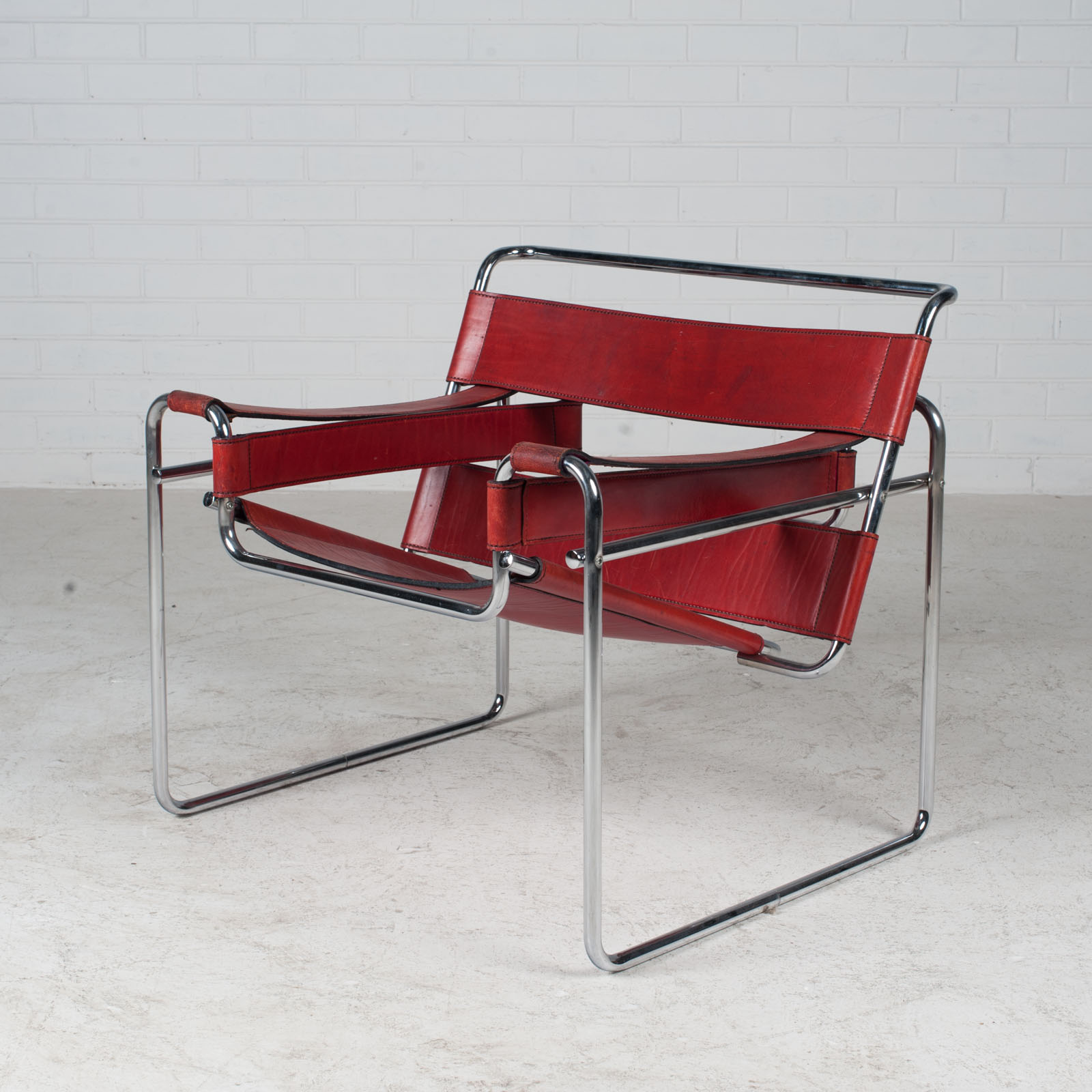 Wassily Armchair By Marcel Breuer In Red Leather 1980s Italy 02