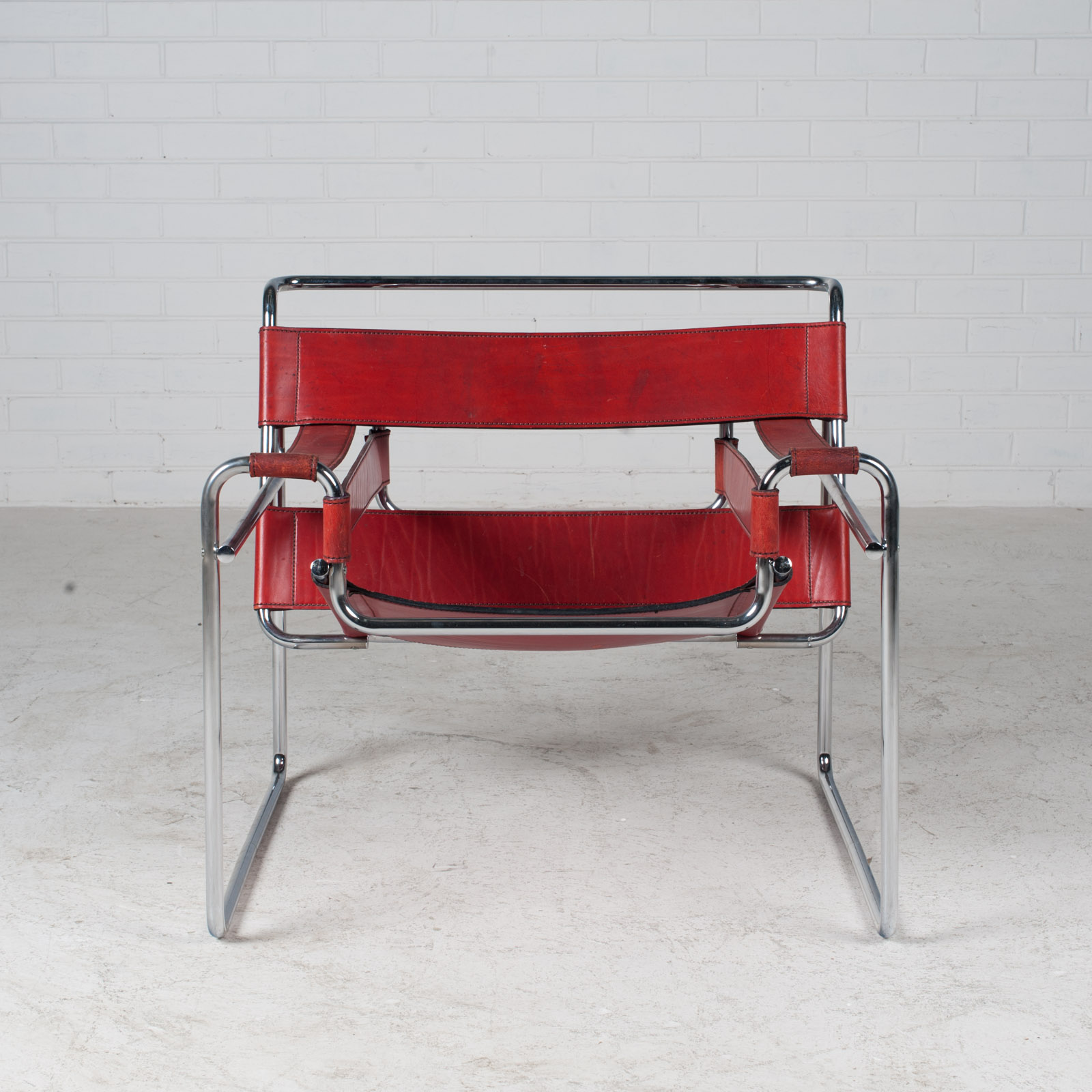 Wassily Armchair By Marcel Breuer In Red Leather 1980s Italy 03