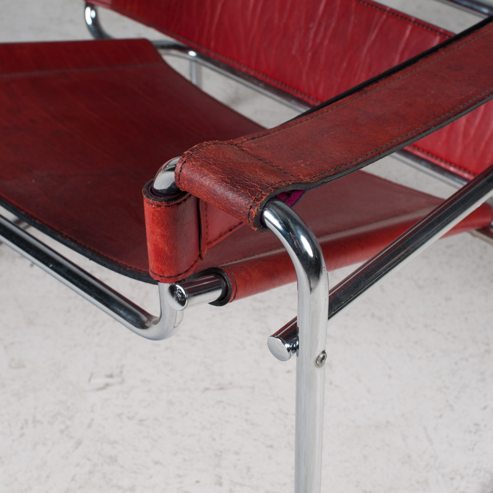 Wassily Armchair By Marcel Breuer In Red Leather 1980s Italy 04
