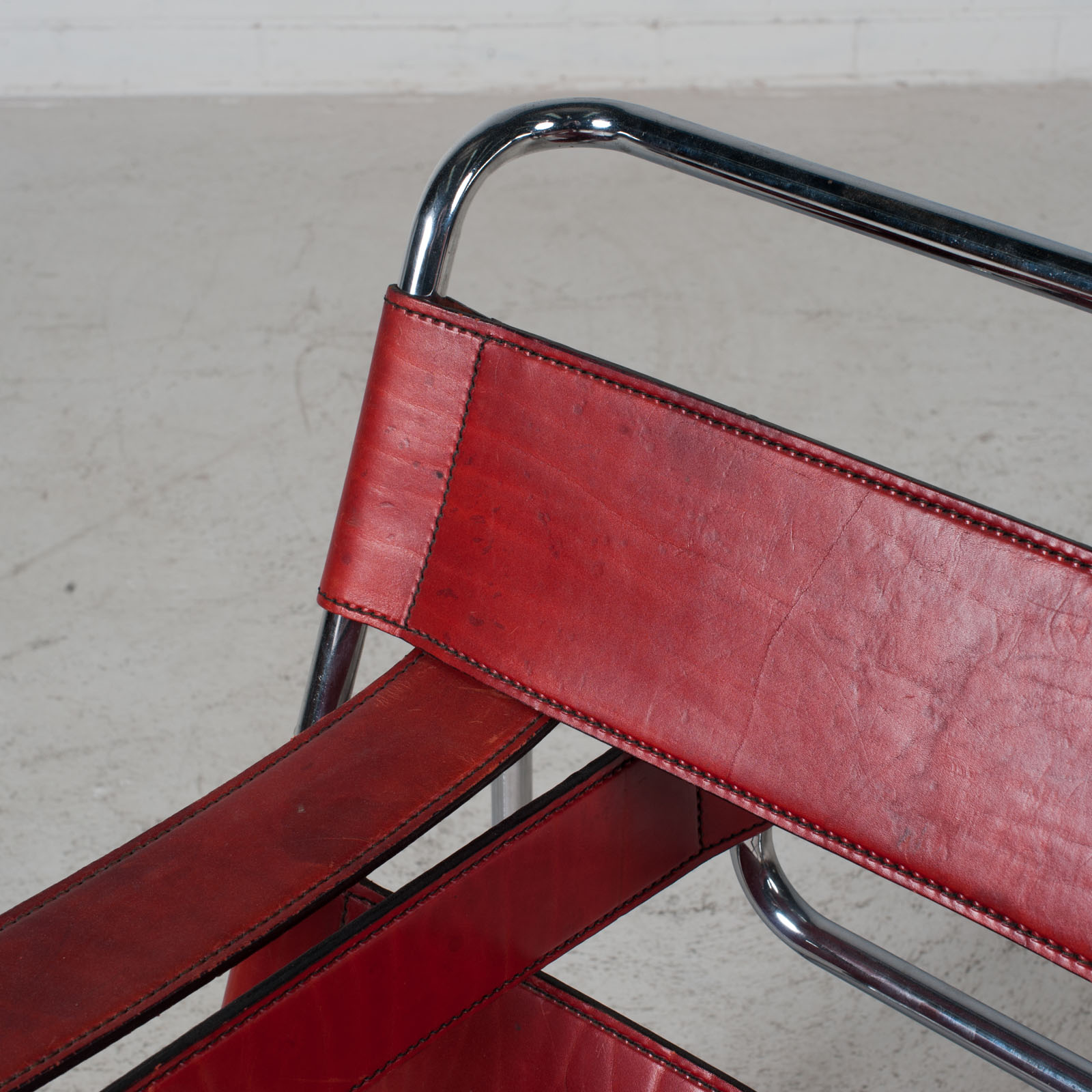 Wassily Armchair By Marcel Breuer In Red Leather 1980s Italy 05