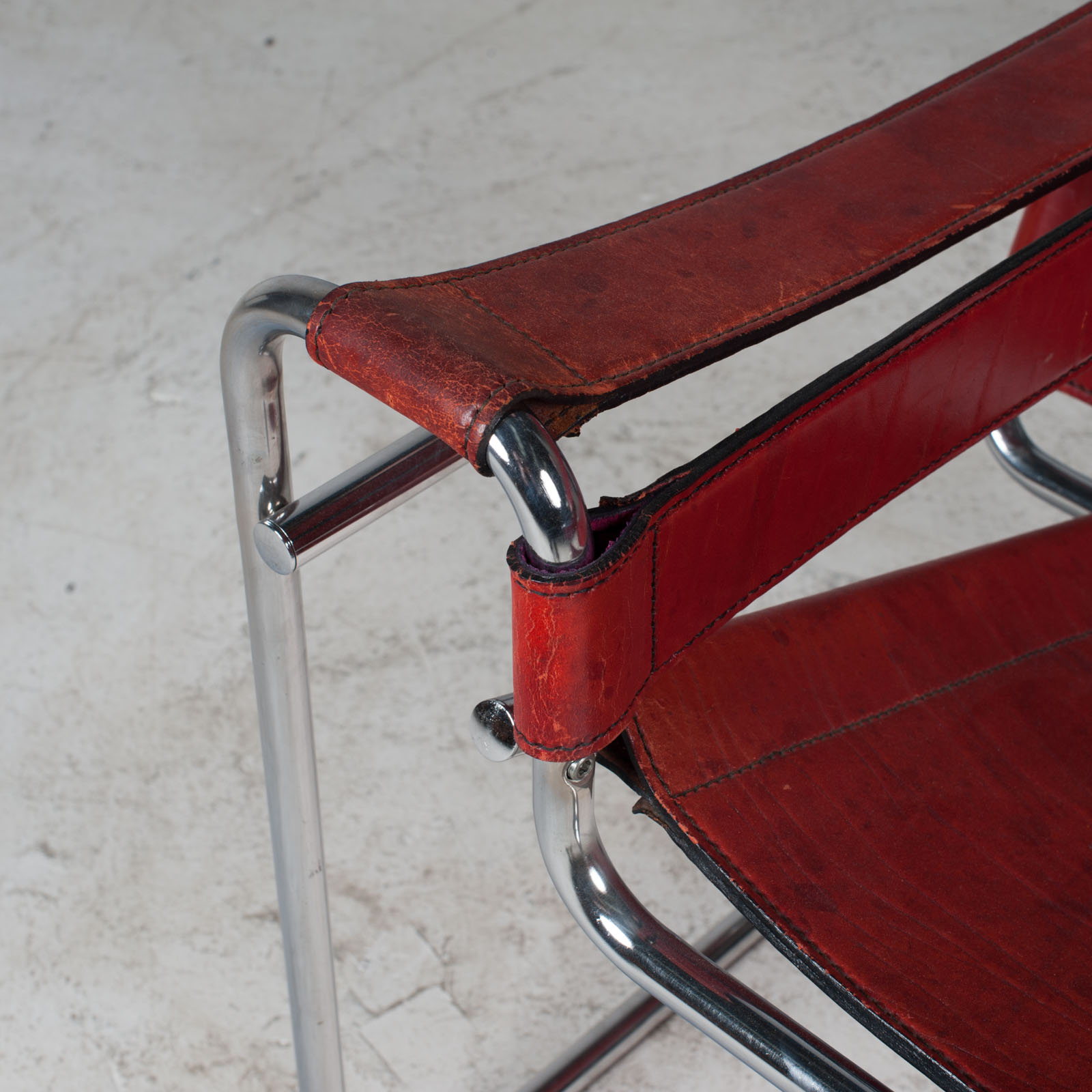 Wassily Armchair By Marcel Breuer In Red Leather 1980s Italy 06