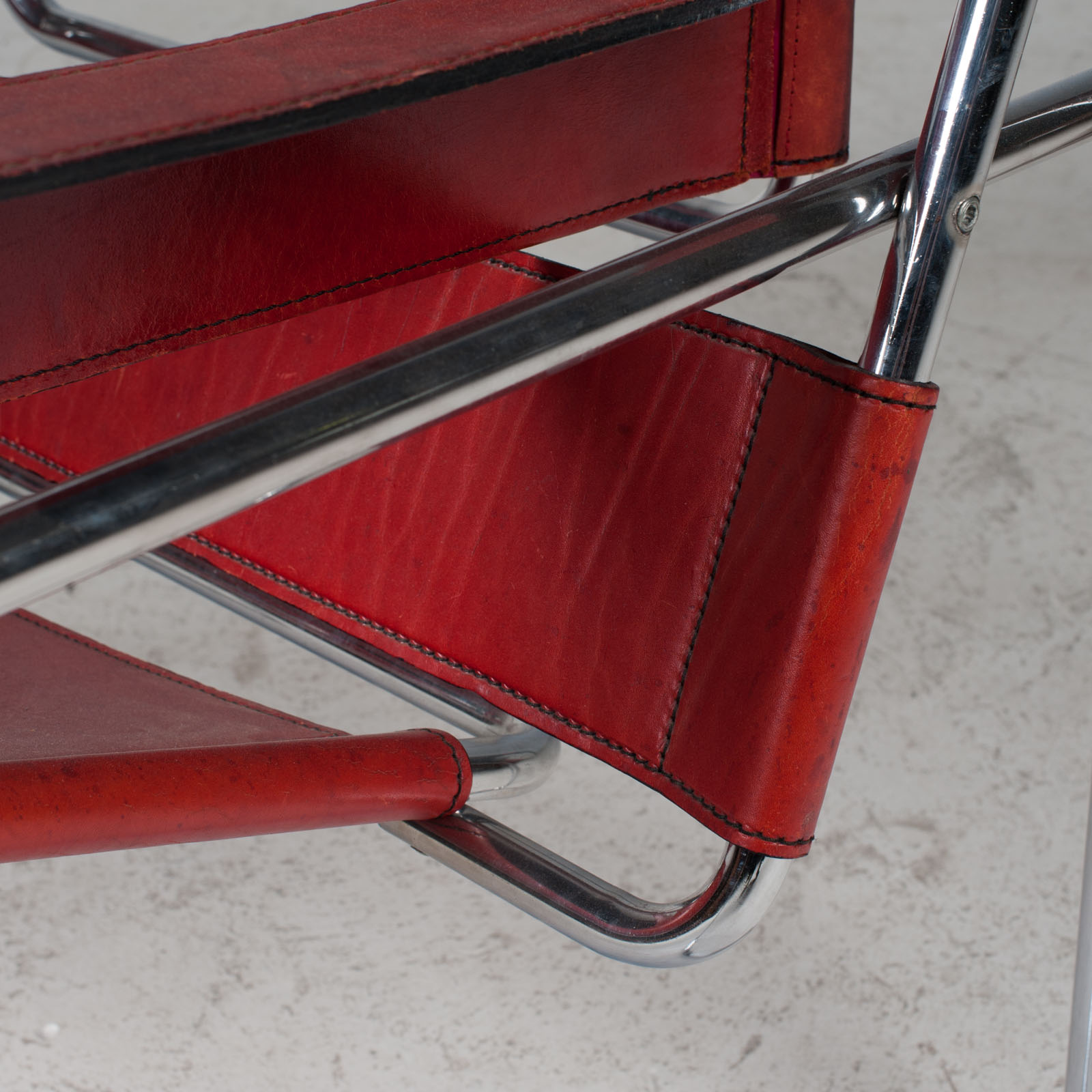 Wassily Armchair By Marcel Breuer In Red Leather 1980s Italy 07