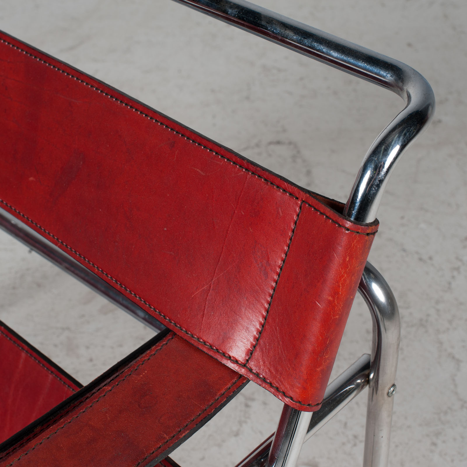 Wassily Armchair By Marcel Breuer In Red Leather 1980s Italy 08