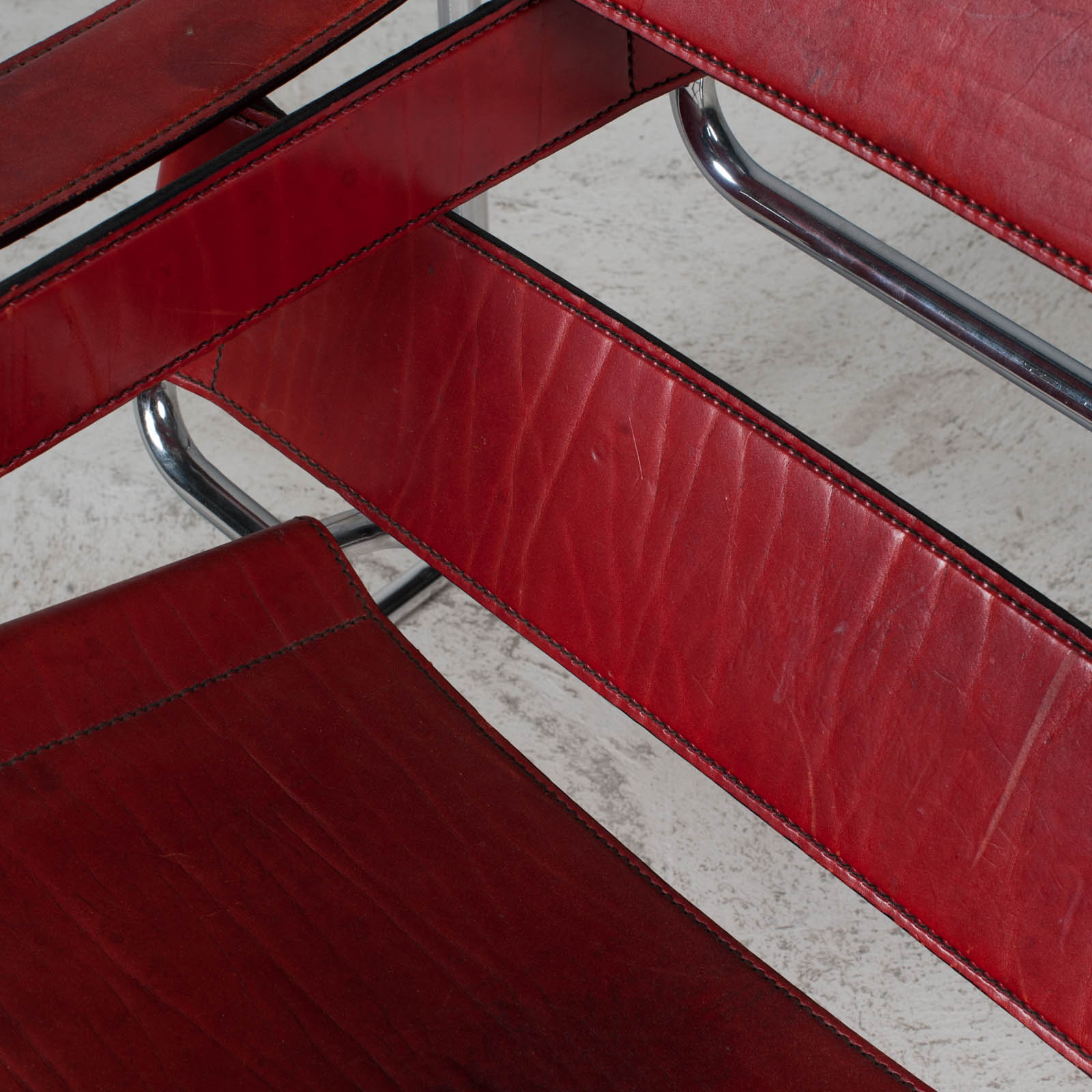 Wassily Armchair By Marcel Breuer In Red Leather 1980s Italy 09