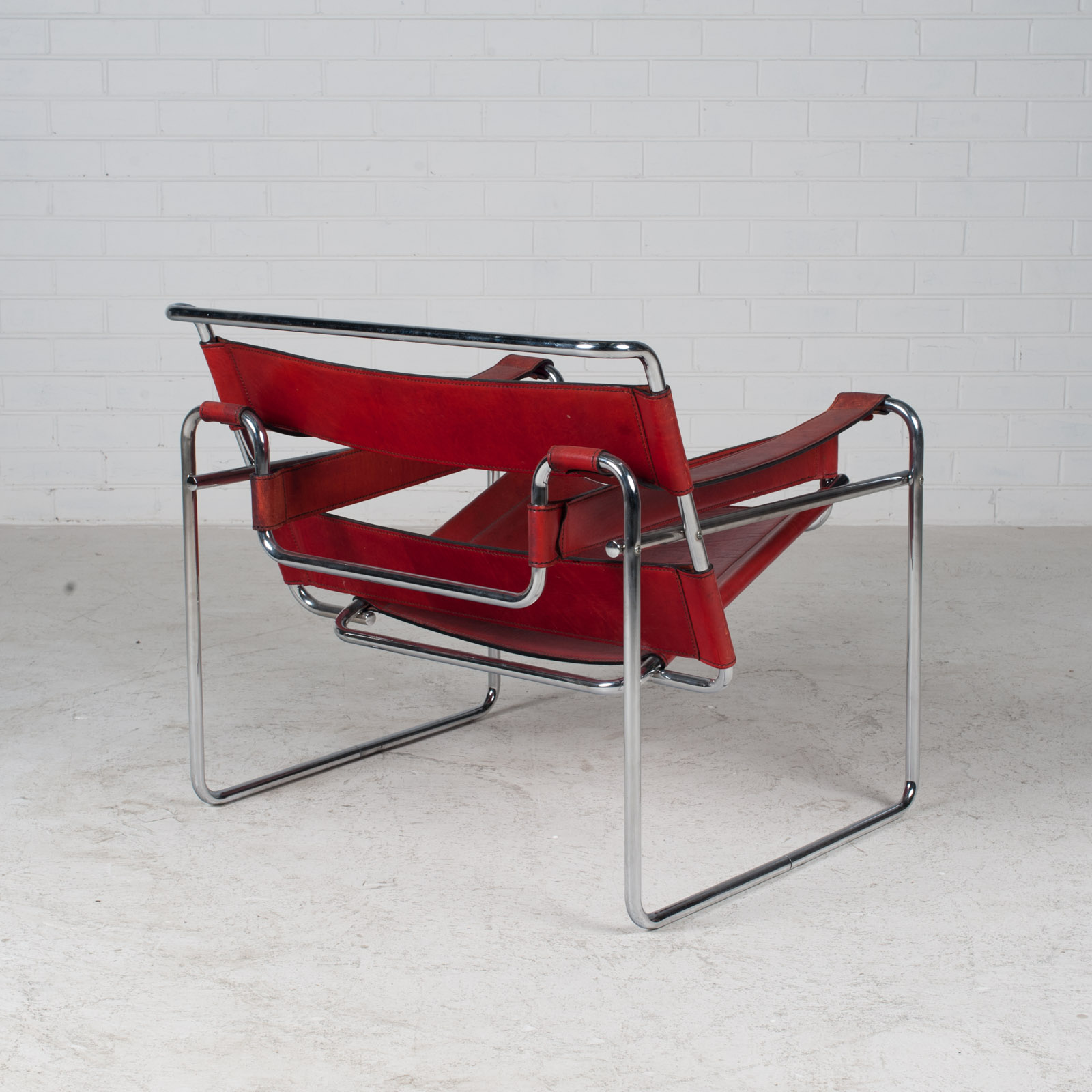 Wassily Armchair By Marcel Breuer In Red Leather 1980s Italy 12
