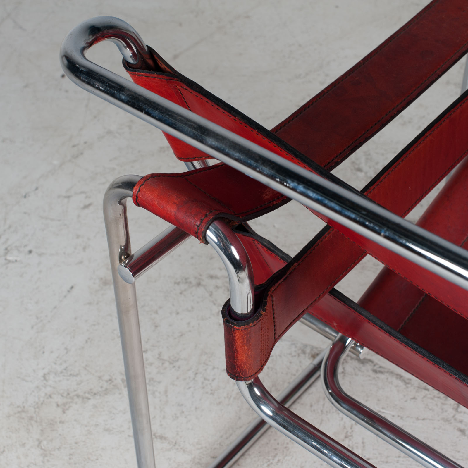 Wassily Armchair By Marcel Breuer In Red Leather 1980s Italy 13