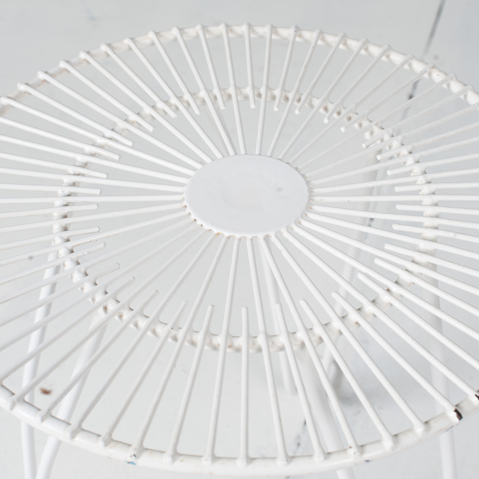White Metal Wire Stool 1950s French 03