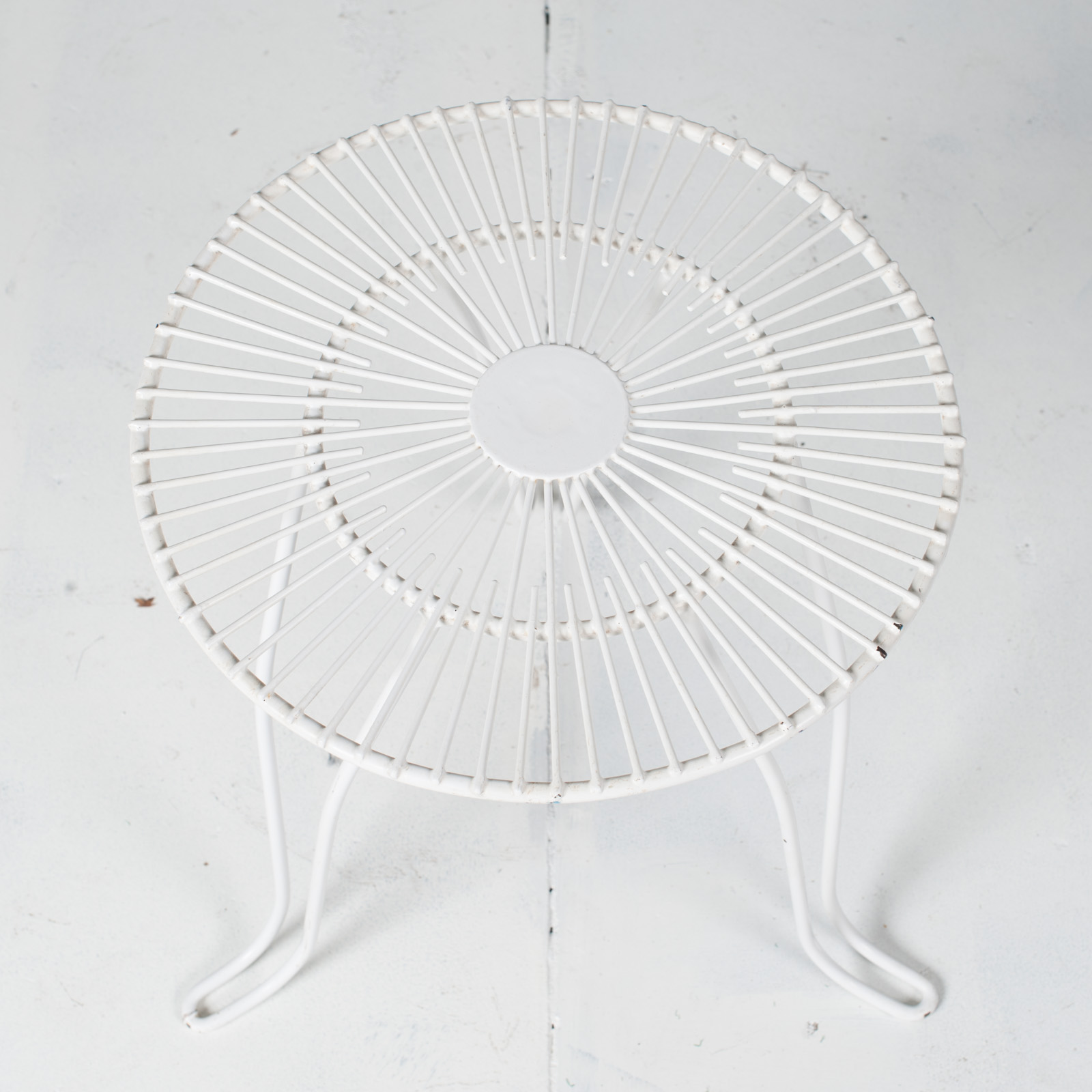 White Metal Wire Stool 1950s French 06