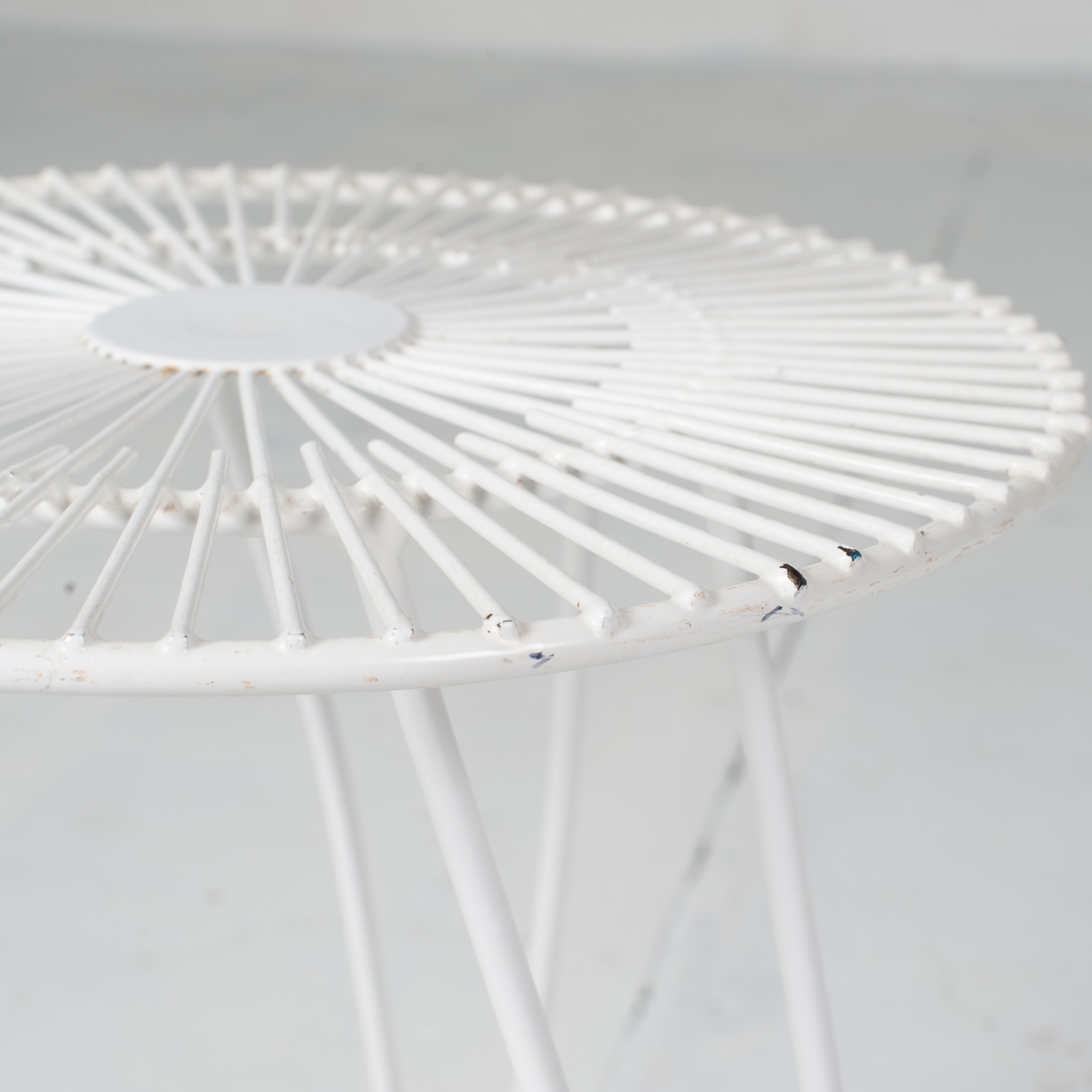 White Metal Wire Stool 1950s French 07