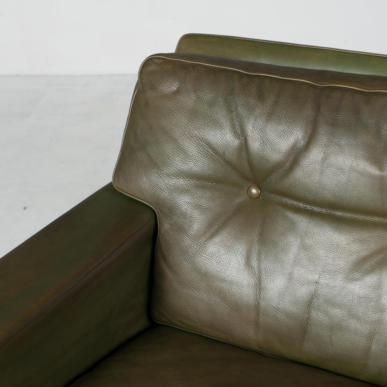 2 Armchairs In Olive Leather 1960s Denmark 005