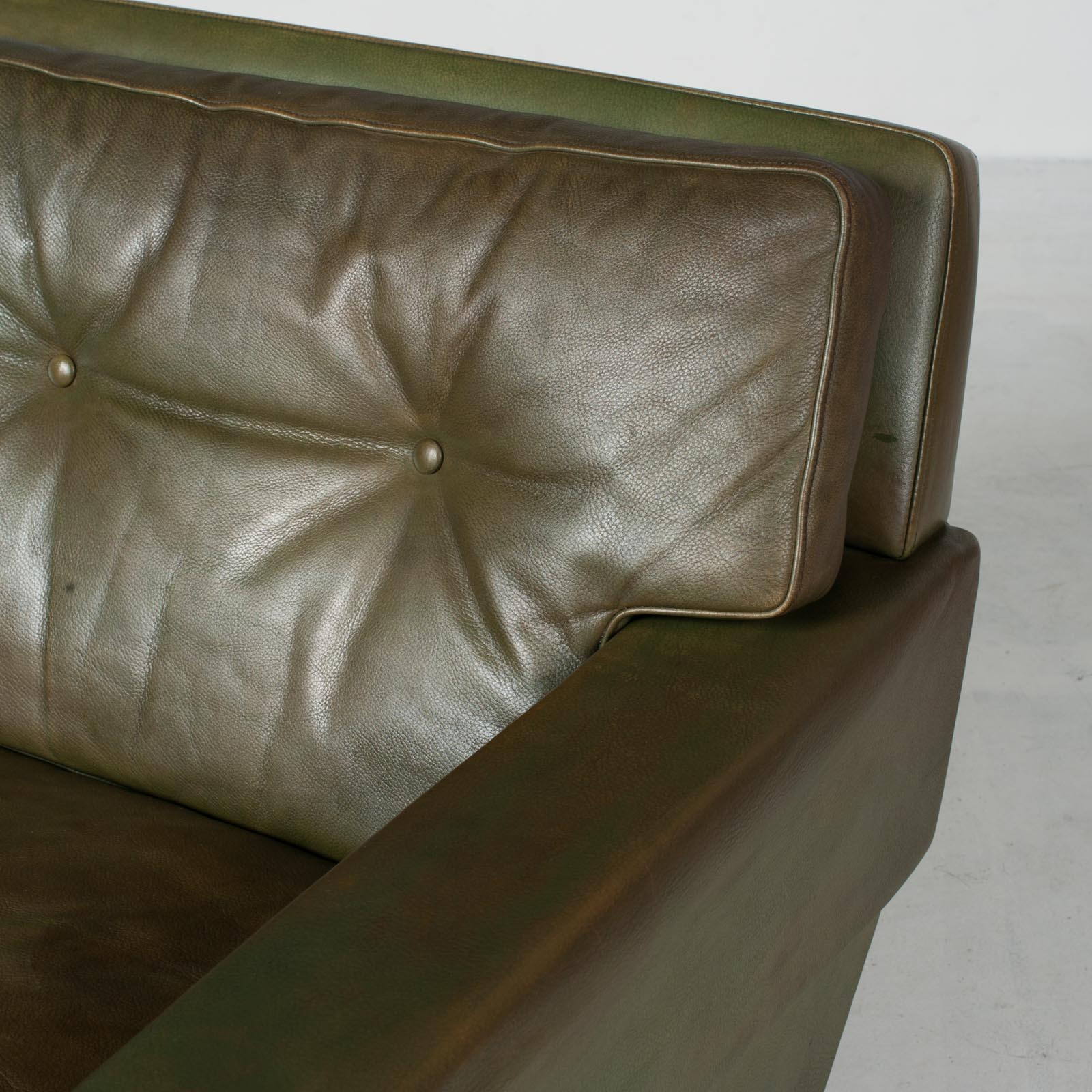 2 Armchairs In Olive Leather 1960s Denmark 006