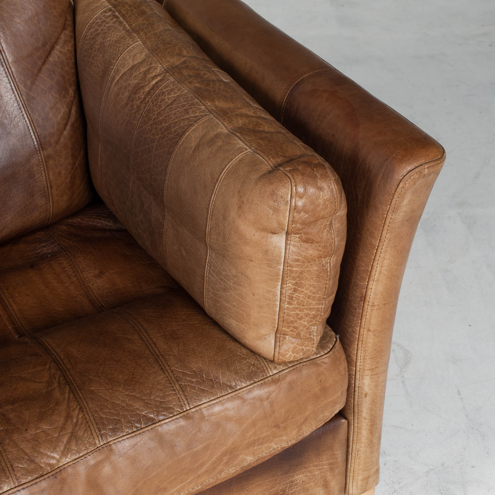 2.5 Seat Sofa In Tan Panelled Leather 1960s Denmark10