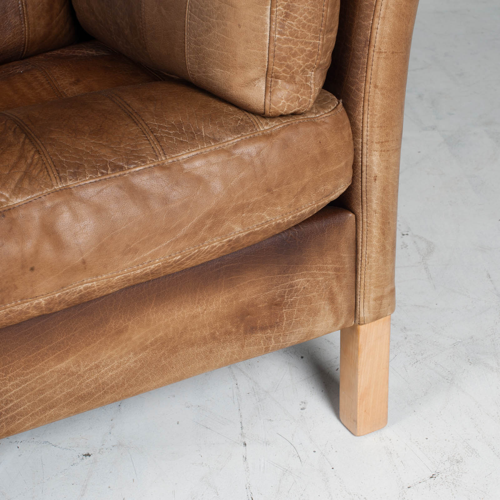 2.5 Seat Sofa In Tan Panelled Leather 1960s Denmark11