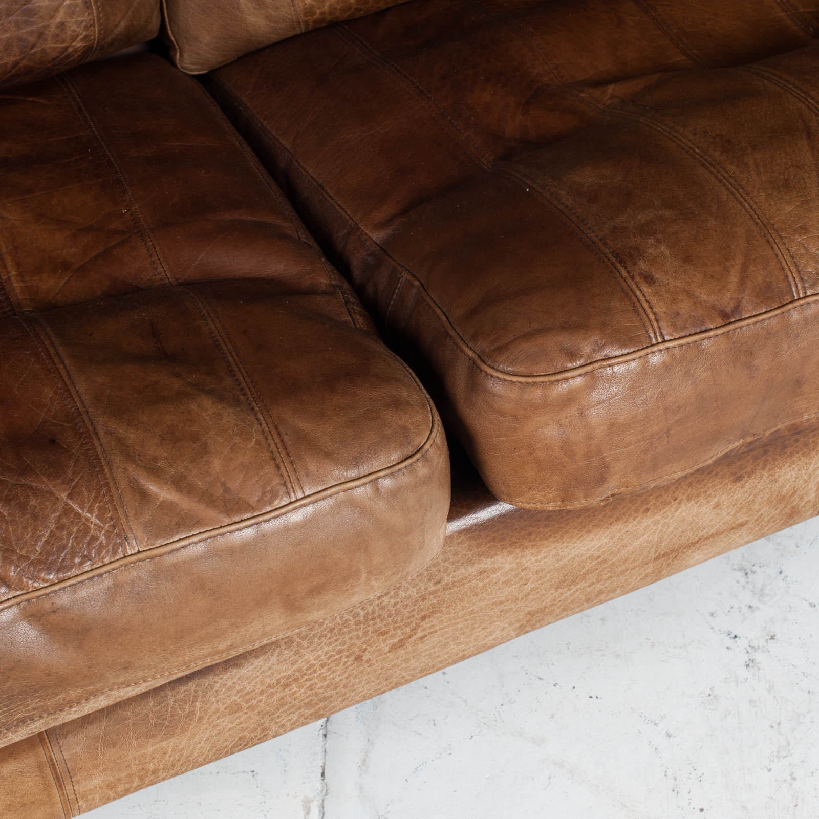 2.5 Seat Sofa In Tan Panelled Leather 1960s Denmark12