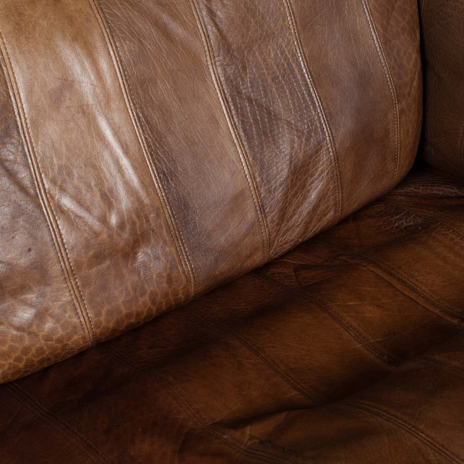 2.5 Seat Sofa In Tan Panelled Leather 1960s Denmark13