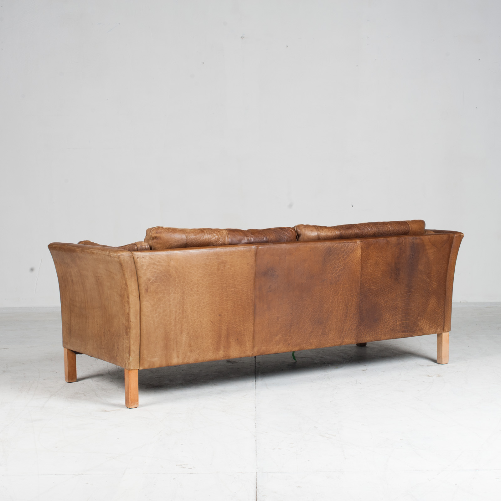 2.5 Seat Sofa In Tan Panelled Leather 1960s Denmark14