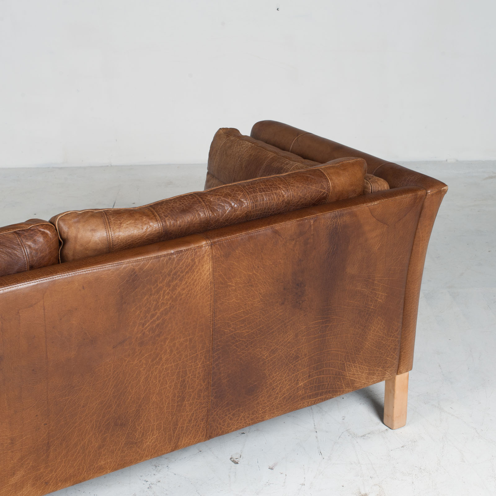 2.5 Seat Sofa In Tan Panelled Leather 1960s Denmark16