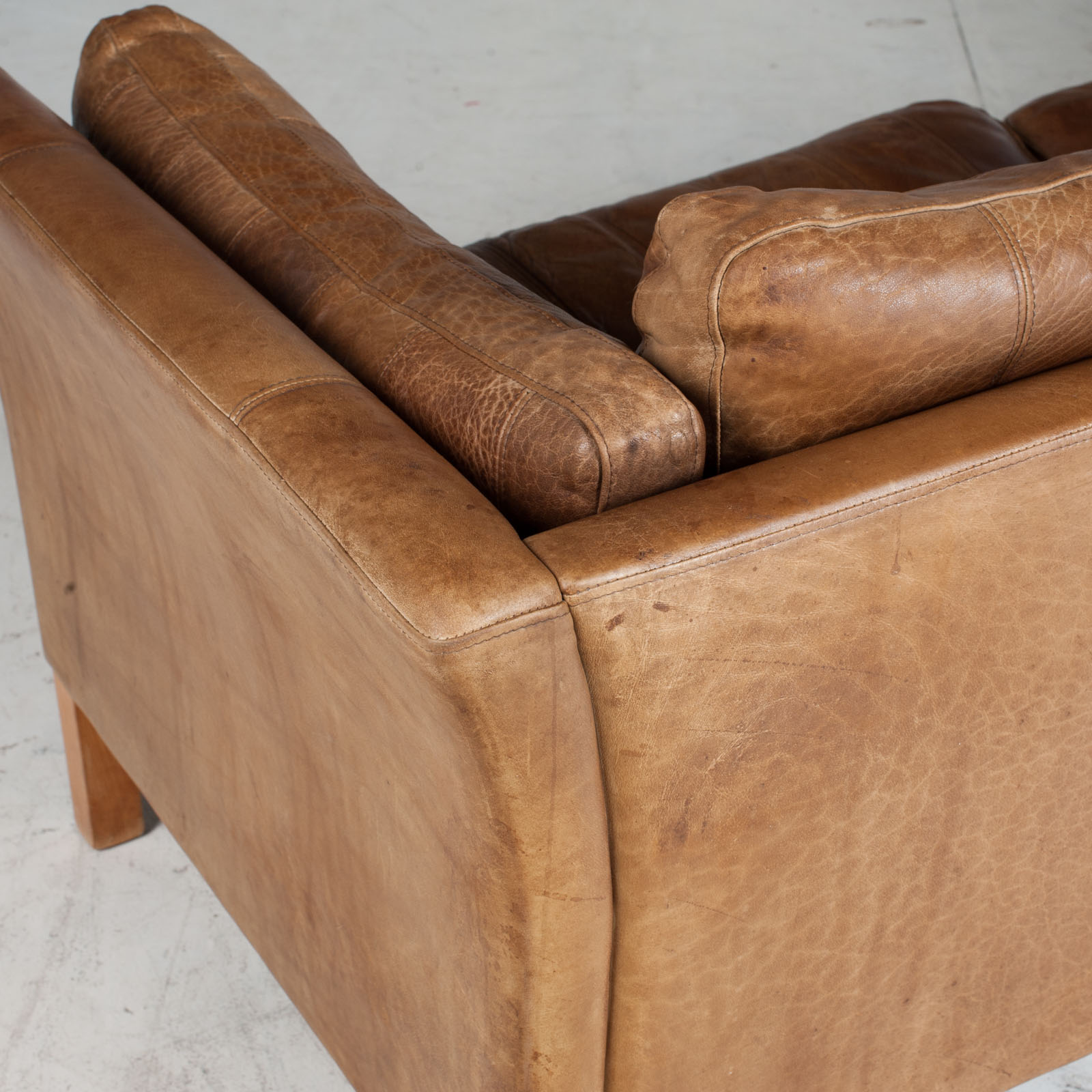 2.5 Seat Sofa In Tan Panelled Leather 1960s Denmark17